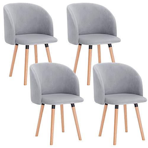 WOLTU 4 x Esszimmerstühle 4er Set Esszimmerstuhl Küchenstuhl Polsterstuhl Design Stuhl mit Armlehne, mit Sitzfläche aus Samt, Gestell aus Massivholz, Grau, BH121gr-4