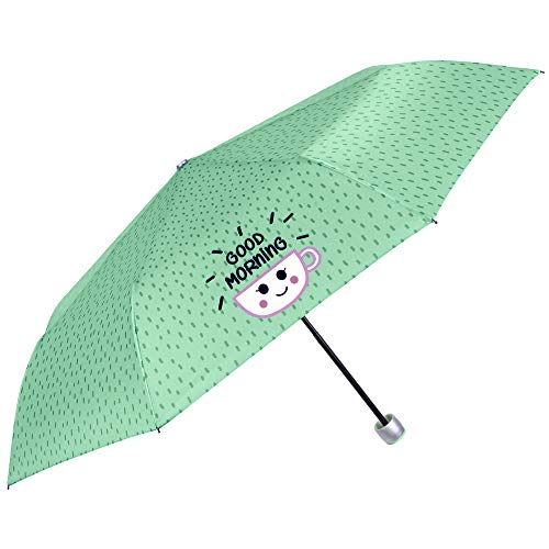 Paraguas Plegable Mujer Chica Verde con Frases Divertidas Good Morning - Paraguas Mini Liso Resistente Antiviento de Fibra de Vidrio - Manual - PFC Free - Diametro 97 cm - Perletti Time (Verde)
