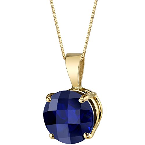 14 Karat Yellow Gold Round Cut 2.50 Carats Created Blue Sapphire Pendant
