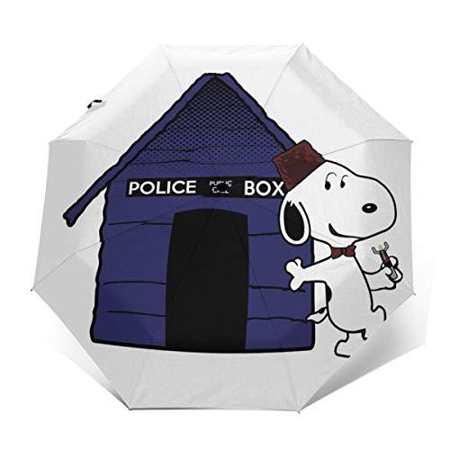 Dr Who Snoopy Tardis Hundehütte, winddicht, kompakt, automatisch, faltbar, Reise-Sonnenschirm