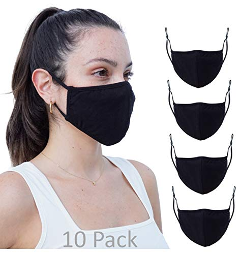 10 Pack Fabric face mask reusable Washable Double Layer Facial Cover, Made in USA… (10 Pk Black, One Size)