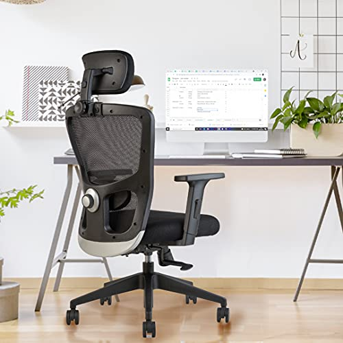 INNOWIN® Jazz High Back Mesh Ergonomic Chair (Black) for Office & Home with Smart Multi Lock Mechanism & 2D Lumbar Support