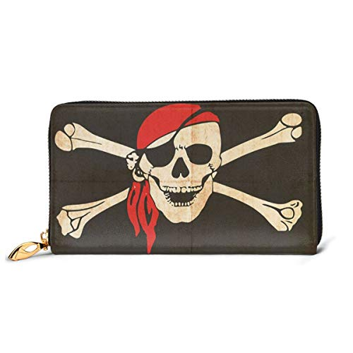 Women's Long Leather Card Holder Purse Zipper Buckle Elegant Clutch Wallet, Flag of Tierra Del Fuego Argentina In Grunge Antique Historical,Sleek and Slim Travel Purse