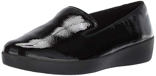 FitFlop Women's Audrey Crinkle-Patent Smoking Slippers Loafer Flat, Black, 8 M US
