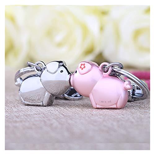 Fxshisnz Schlüsselbund 3D-Kuss Schwein Paar Schlüsselbund for Liebhaber-Geschenk Schmuckreizende Schlüsselhalter-Frauen Schlüsselanhänger vorhanden Auto (Color : Chrome pink)