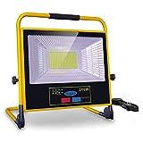 Luz de Trabajo Foco LED Recargable, bapro 200W Luz de Inundación Portátil Solar con Control Remoto Regulable, Impermeable IP65 Proyector al Aire Libre Recargable de 30000mAh para Obra, Taller, Garaje