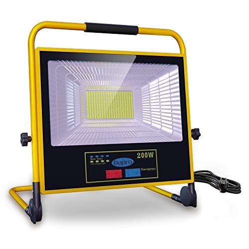 LED Baustrahler 200W Akku Strahler, 3000LM Solar Arbeitsleuchte Fernbedienung Dimmbar, IP65 Wasserdicht Wiederaufladbares 30000mAh Tragbar Außenscheinwerfer für Baustelle, Werkstatt,Garage