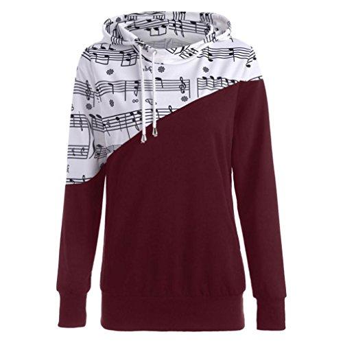 ESAILQ Frauen Langarm Musical Note Patchwork Print Kapuzen Bluse Sweatshirt Tops