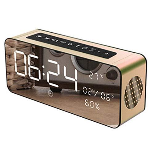 MJBOY wekker Bluetooth-luidspreker draadloze luidspreker FM-radio temperatuur luidspreker outdoor draagbaar goud