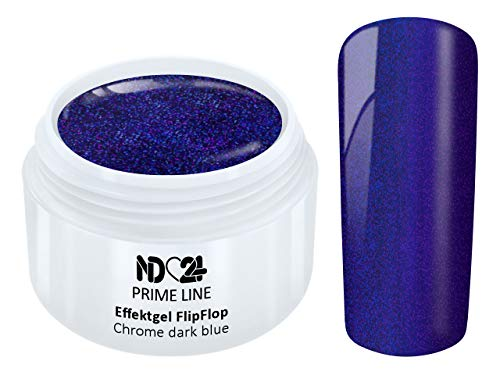 Prime Line - Uv Led Effekt Gel Flipflop Chrome Dark Blue Glitter Blau - Made in Germany - 5ml