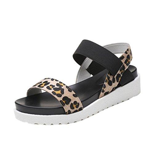 Sandalen mit Keilabsatz, FNKDOR Damen Mode Offene Outdoor Kunstleder Schuhe (35, Braun)