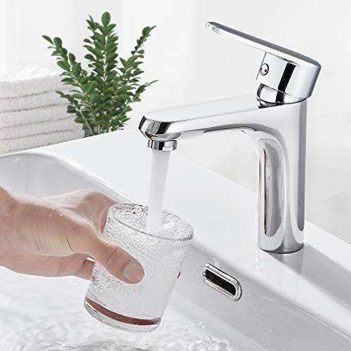 BONADE Wasserhahn Bad Armatur Waschbecken Einhebelmischer Waschtischarmatur Messing Chrom Mischbatterie Badarmatur Einhand-Waschtischbatterie