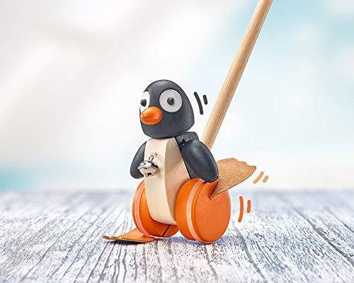Selecta 62071 Pingo, Schiebefigur, Schiebe-und Nachziehspielzeug aus Holz, 13 cm, Bunt
