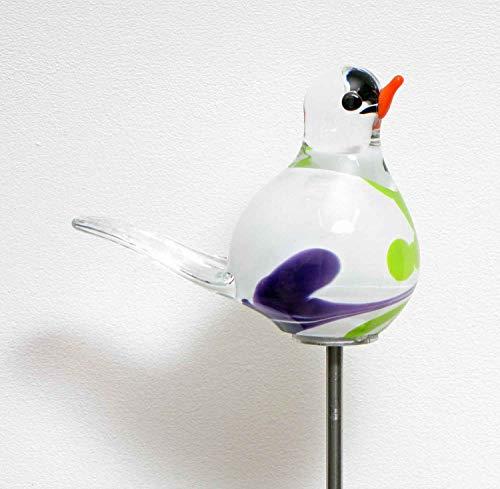 MP Glaszauber Vogel - Spatz auf Stab Flieder Glas H 84 cm Gartenstecker handgefertigte Gartenstele Gartenkugel
