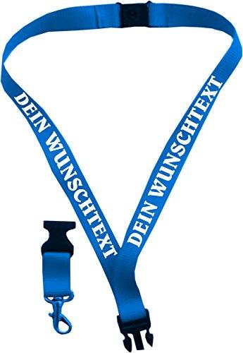 Geschenkartikel Schlüsselband 25 mm mit Verschluss Bedruckt mit Ihrem Schriftzug/auch für Kids (blau)