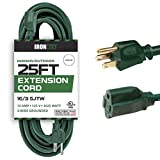 outdoor extension cord 25 ft - 25 Foot Outdoor Extension Cord - 16/3 SJTW Durable Green Extension Cable with 3 Prong Grounded Plug for Safety - Great for Garden and Major Appliances