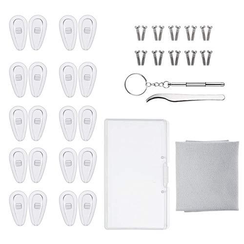 Brillen-Reparatur-Set, Luftkammer-Nasenpads aus Silikon, zum Einschrauben, Nasenpads mit Schrauben, Pinzette und Reinigungstuch (15 mm)