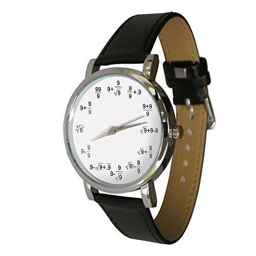 Your Watch Design Unisex Uhr. Erwachsenengröße. Analog Quarz mit Leder Armband, Math