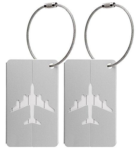 Kofferanhänger aus Metall mit Namensschild und Flug-Motiv 2 Stück (Silber metallic)