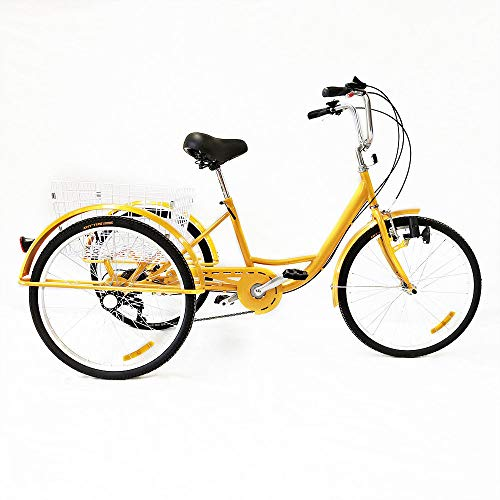 SENDERPICK - Pedal para Bicicleta de 3 Ruedas para Adultos, 24 Pulgadas, 6 velocidades, con Cesta Blanca para Deportes al Aire Libre, Compras, tamaño with Light