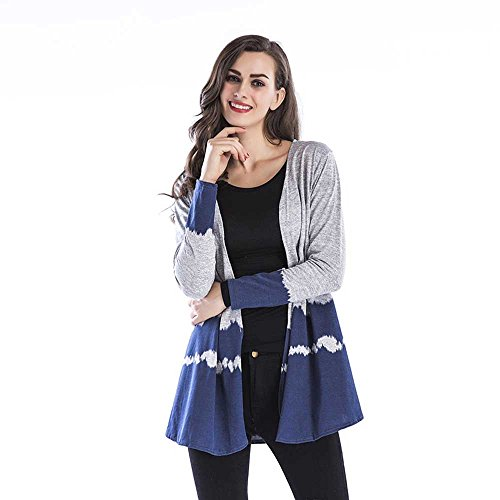 iHENGH Damen Kardigan Top,Ladies Herbst GefäLle Tops Casual Collarless Fell Weave Cardigan Mantel Strickjacke Coat (EU-34/CN-S,Blau)