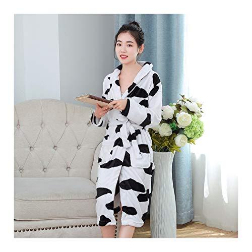 GAOHUI Damen Herbst Winter Warm Home Hotel Flanell Bademantel Langarm Kuh Farbe Schlafanzug, Schwarz Und Weiß, XL (165-178 cm)