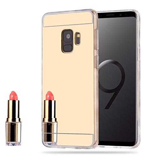 LXHGrowH Funda Espejo Silicona Gel TPU para Xiaomi Pocophone F1 Color Oro