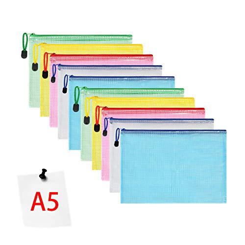Vicloon Bolsas de Documentos A5, 10 Piezas Carpetas para Archivo Documentos de plástico con Malla, Bolsa de Archivo de Cremallera para Certificados Recibos Papelería Oficina Viaje Tarea Escolar