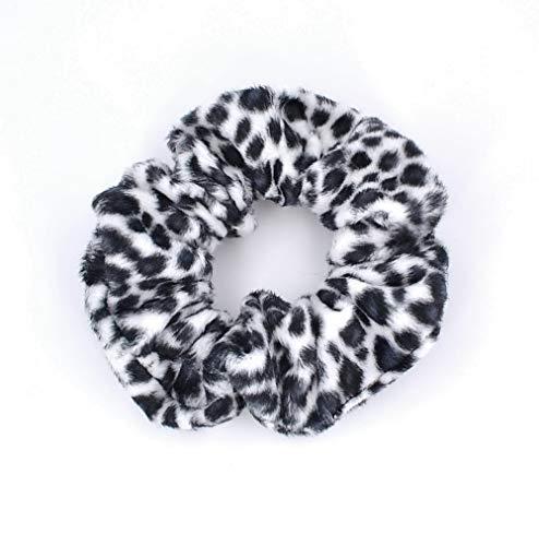 Chouchou élastique cheveux imprimé leopard noir