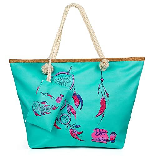 Weinsamkeit Bolso de Playa Grande, Bolsa de Playa para Mujer, Totalizador de Lona Shopper Bolsa de Hombro, Impermeable con Cremallera (E)