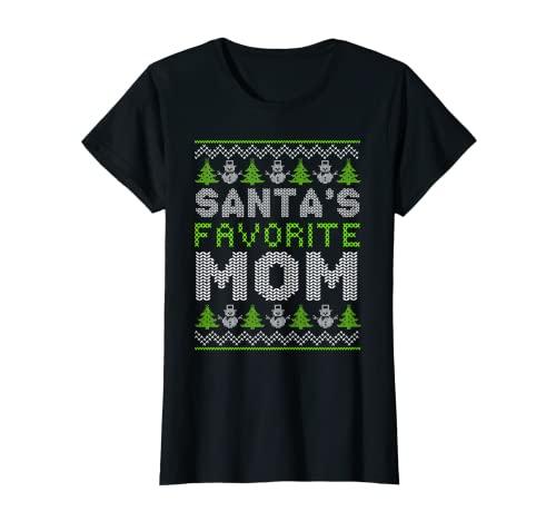 Mujer Santa Favorita Mamá X-Mas Vacaciones Feas Navidad Camiseta