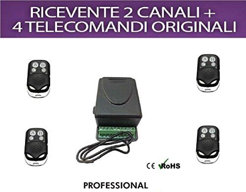 Set met ontvanger, 2 kanalen, 5 A en 4 afstandsbedieningen 433 MHz voor poorten, rolluiken, verlichting