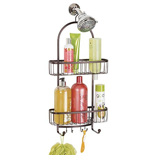mDesign Bathroom Shower Caddy for Shampoo, Conditioner, Soap - Extra Large, Bronze