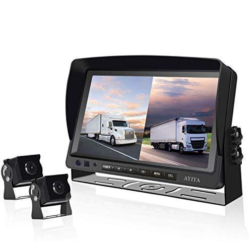 """Dual Recording Rückfahrkamera-Set, mit 9"""" Split IPS LCD Kfz-Monitor, & 2 * 175° Weitwinkel – Rückfahrkameras, HD Farbe Nachtsicht, für LKW/Anhänger/Bus/Van/Landwirtschaft(12-35 Volt)"""