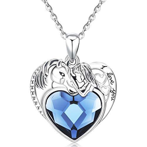 Collana con ciondolo a forma di cuore di cavallo, argento sterling, regalo di gioielli con cuore per le donne,madre,ciondolo con ciondolo d'amore,catena da 18 '(cavallo con zircone nel cuore Collana)