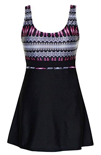 DANIFY Women's One Piece Swimsuits Plus Size Swimwear Cover up Swimdress Bathing Suits Black IT54/-US20