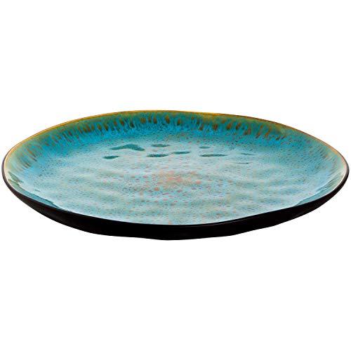 4 x Teller flach Speiseteller Pizzateller Keramikteller türkis Ø 27.5 cm