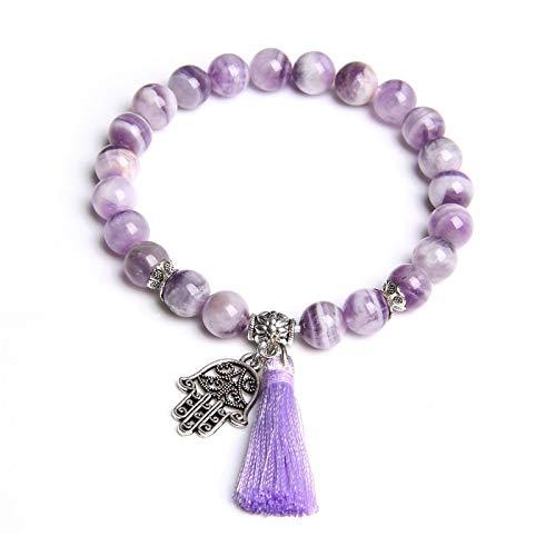 Pulsera natural púrpura sueño Amatistas cristal piedra perlas pulsera joyería regalos de metal Fátima mano borla encanto pulseras mujeres señoras