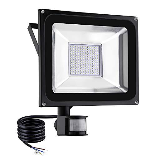 Viugreum Foco LED con Sensor de Movimiento 100W, Foco proyector LED, Iluminación de exterior Para Jardín, Terraza, Garaje, Camino de Entrada, Impermeable IP65, Blanco Cálido