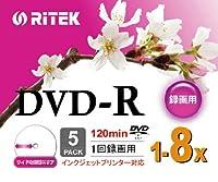 RITEK DVD-R アナログ録画用 8倍速 インクジェットプリンター対応 ワイドエリア 5枚 スリムケース RiTEK V-R8X5PWN