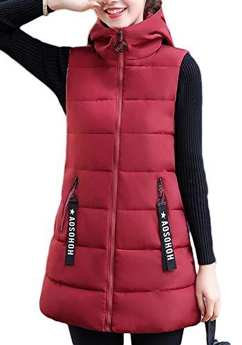 Chaleco Acolchado para Mujer Invierno Cremallera Chaqueta Sin Mangas Abajo Abrigos con Capucha Vino Rojo S