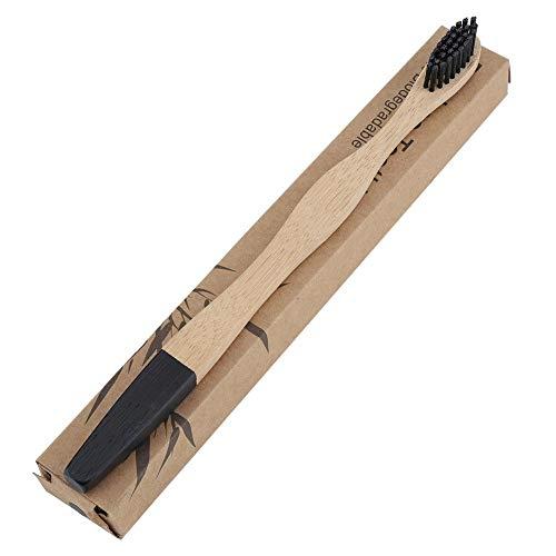 4pcs Brosse à Dents en Bambou Naturel Eco-Friendly Brosse à Cheveux Doux Poignée en Bambou Brosse à Dents Adultes Soin Orale(Noir)