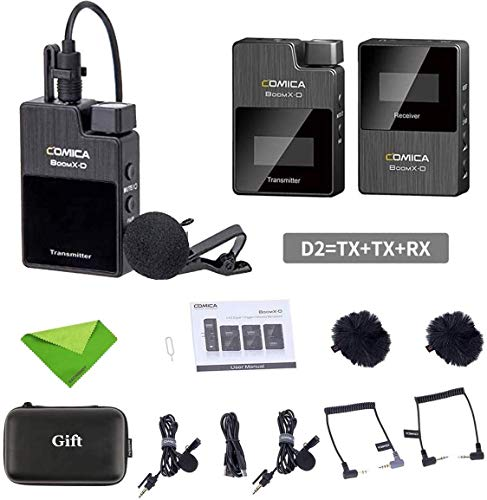 Comica BoomX-D D2 Wireless Lavalier Microphone System,2.4G Digital 1-Trigger-2 Wireless Microphone OLED Display Transmitter & Receiver with Lapel Clip Mics for DSLR Camera