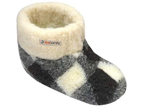 BeComfy Pantoufles Laine de Mouton Chauds Chaussons pour Hommes/Femmes Unisex Semelle en Cuir Ou Antiderapante pour Hiver 36-46 EU (à Damier, Numeric_36)