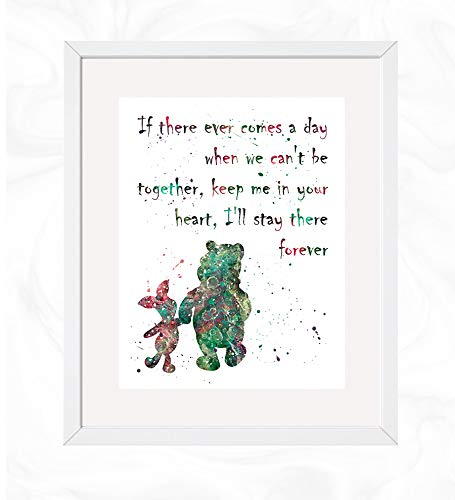 Winnie the Pooh Quote Prints, Winnie the Pooh Disney Watercolor, Nursery Wall Poster, Holiday Gift, Kids and Children Artworks, Digital Illustration Art