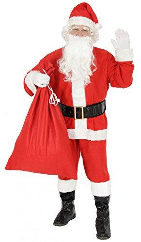 Foxxeo 9-teiliges Weihnachtsmann Nikolauskostüm Kostüm für Herren Mit - Mütze, Bart, Gürtel und Handschuhe, Gr.-XXL, Rot-Weiß