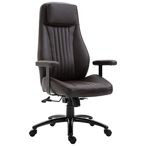 Vinsetto Bürostuhl, Höhenverstellbarer Drehstuhl, Ergonomischer Chefsessel, mit Wippfunktion, Eco-Leder, Braun, 70 x 70 x 116-123,5 cm