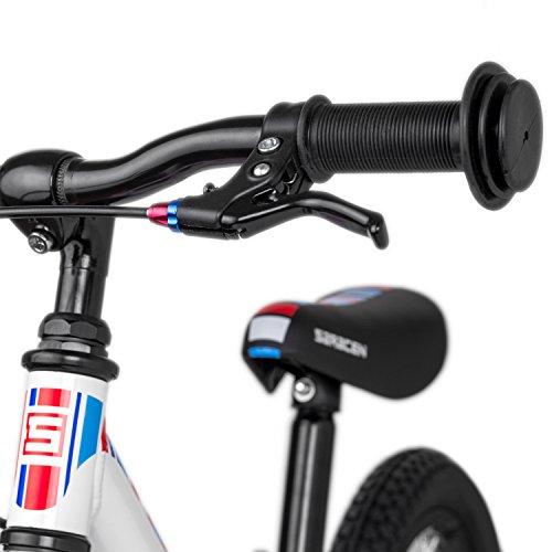 "WeeBikeShop Saracen Freewheel 12"" Aluminum Balance Bike (US Edition) with Air Tires and Brakes - Presented (Age 2-4) (White)"