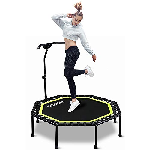 """ONETWOFIT 51"""" Silent Trampoline with Adjustable Handle Bar, Fitness Trampoline Bungee Rebounder Jumping Cardio Trainer Workout for Adults OT105"""