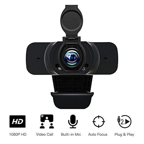 Veroyi Webcam mit Mikrofon, 1080P Full HD USB PC Webcam mit Abnehmbarer Datenschutzabdeckung Streaming Computer Webkamera für Videoanrufe Aufnahmekonferenzen